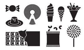 Desserts icons. New silhouette desserts icons illustration Royalty Free Stock Images
