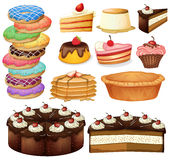 Desserts. Illustration of many different desserts stock illustration