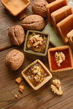 Desserts with jam and walnuts, homemade Stock Images