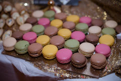 Desserts 2. Macaron desserts on display at wedding stock photo