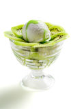 Desserts made from kiwi ice cream and whipped cream Royalty Free Stock Image
