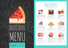 Desserts menu. Desserts cafe menu. Vector web flat illustration Royalty Free Stock Photography
