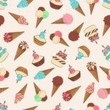Desserts naadloos patroon met roomijs Stock Illustratie