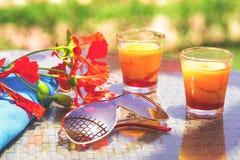 Desserts ou cocktails du pique-nique deux d'été image stock