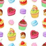 Desserts, petits gâteaux et macarons colorés assortis Configuration sans joint de vecteur Photo stock