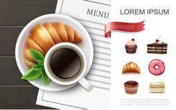 Desserts réalistes et concept de produits de cuisson illustration stock