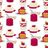 Desserts raspberry dishes cake and jam yoghourt and patties. Raspberry dessert bakery and confectionery cake and berry jam seamless pattern vector food jelly royalty free illustration