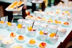 Desserts at restaurant buffet Royalty Free Stock Photos