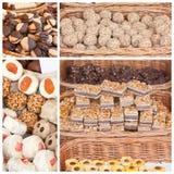 Desserts in rieten manden Stock Afbeeldingen