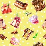 Desserts sans couture d'aquarelle illustration de vecteur