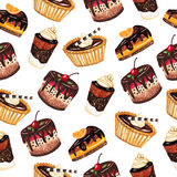Desserts seamless pattern on a white background Stock Image