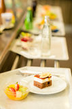 Desserts on serving tray cafeteria self service stock image