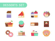 Desserts set. Set of flat color icons. Desserts: chocolate, cheesecake, ice cream, cupcake, muffin, pasta chocolate bar brownies donuts tiramisu tarte Royalty Free Stock Image