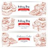 Desserts sketch bakery shop banners set Stock Images