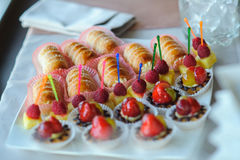 Desserts, strawberries, raspberries Royalty Free Stock Photography