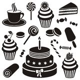 Desserts and sweets icon. Black desserts and sweets icon vector silhouette collection royalty free illustration