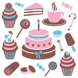 Desserts and sweets icon. Colorful desserts and sweets icon vector silhouette collection royalty free illustration