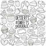 Desserts & Sweets Traditional Doodle Icons Sketch Hand Made Design Vector stock illustration