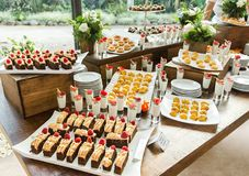 Desserts table on party event or wedding celebration Royalty Free Stock Photo
