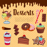 Desserts waffle and cakes vector poster Stock Photos