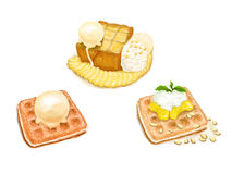 3 Desserts :waffle ice cream and toast. Three Desserts : Toast with banana and ice-cream waffle and ice-cream waffle with sweet orange and cashew nut vector illustration