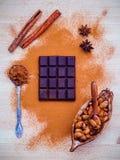 Dessertsachtergrond en menuontwerp Bruin chocoladepoeder in s Royalty-vrije Stock Afbeeldingen