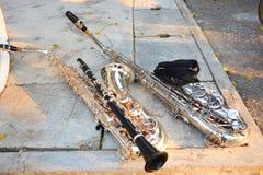 Dessiccateur de saxophone et de clarinette placé sur la route images libres de droits