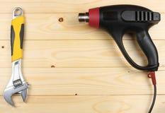 dessiccateur industriel sur le fond en bois clair avec l'espace de copie Vue supérieure texture d'outils Usine le fond image stock