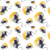 Dessin abstrait d'un rat sur un fond jaune de fromage Symbole du nouveau 2020 Illustrations d'aquarelle d'isolement sur le blanc illustration libre de droits