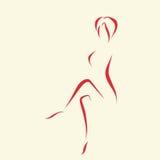 Dessin abstrait de logo de femme par des lignes Photographie stock libre de droits