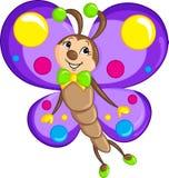 Dessin adorable de kawaii de couleur d'un petit papillon, admirablement coloré, pour le livre d'enfants illustration stock
