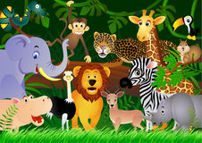 Dessin animé animal mignon dans la jungle Image stock