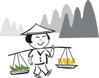 Dessin animé asiatique d'ouvrier de ferme Photos libres de droits