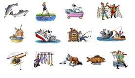Dessin animé au sujet de la pêche Image libre de droits