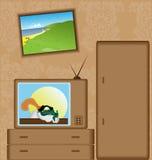 Dessin animé avec le téléviseur Images libres de droits