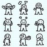 Dessin animé d'émotion sur le papier de graphique. illustration stock