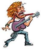 Dessin animé d'un chanteur de métaux lourds Image libre de droits