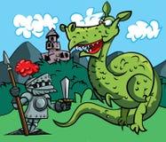Dessin animé d'un chevalier faisant face à un dragon féroce Photos libres de droits