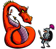 Dessin animé d'un chevalier faisant face à un dragon féroce Photo stock