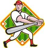 Dessin animé de diamant d'ouate en feuille de joueur de baseball Photographie stock