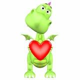 Dessin animé de dragon dans l'amour Photos libres de droits
