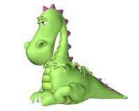 Dessin animé de dragon - a mangé trop Photographie stock