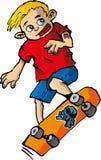 Dessin animé de garçon sur une planche à roulettes Photographie stock libre de droits
