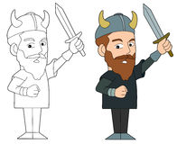 Dessin animé de guerrier de Viking Photo stock