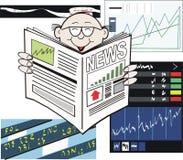 Dessin animé de journal de marché boursier Image libre de droits