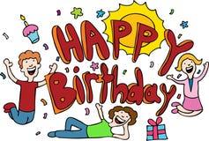 Dessin animé de joyeux anniversaire illustration de vecteur