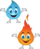Dessin animé de l'eau et d'incendie Photo libre de droits