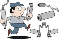 Dessin animé de mécanicien automatique Photographie stock