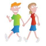 Dessin animé de marche de couples illustration libre de droits