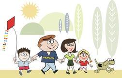 Dessin animé de marche de famille heureuse Images libres de droits